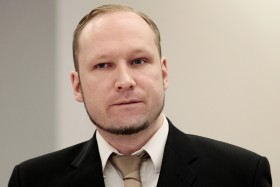 Terror- and murder charged Anders Behring Breivik in courtroom 250 in the courthouse in Oslo early Tuesday morning April 17, 2012. The start of second day of proceedings against mr. Breivik was dominated by reports of one of the lay magistrates having in the past posted inappropriate messages on a well known social network.