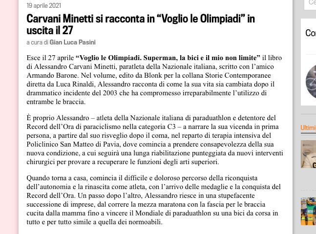 una parte di articolo uscito sulla Gazzetta dello Sport dedicato a Alessandro Carvani Minetti.