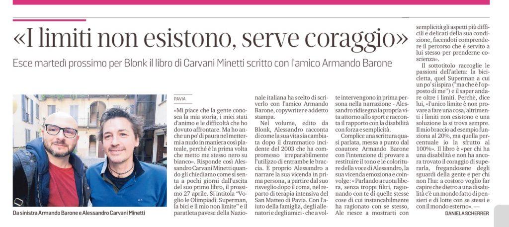 """articolo della Provincia Pavese sul libro """"Voglio le Olimpiadi - Superman, la bici e il mio non limite"""" di Alessandro Carvani Minetti"""