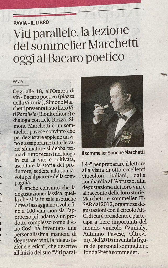 articolo dedicato al sommelier Simone Marchetti ospite stasera al Bacaro.